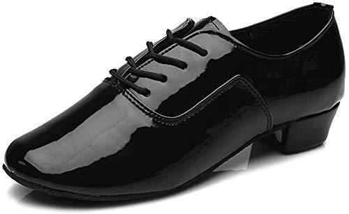 YKXLM Herren Leder Professionelle Latein Tanzschuhe Ballsaal Jazz Tango Waltz Performance Schuhe, Schwarz (schwarz), 43 EU
