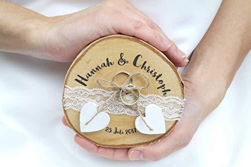 Ringkissen Holz Baumscheibe Hochzeit für Eheringe Hochzeitsdeko