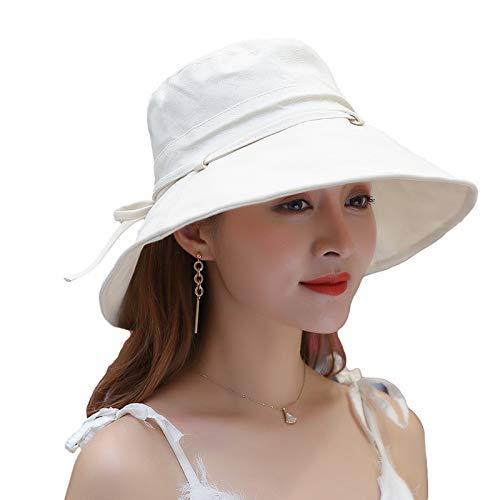 CROW Sombrero de Verano, Tapa de algodón de Color sólido Femenino, Olla de Plegable Rojo Grande, Pescador de protección Solar al Aire Libre, Sombrero de Viaje al Aire lib White