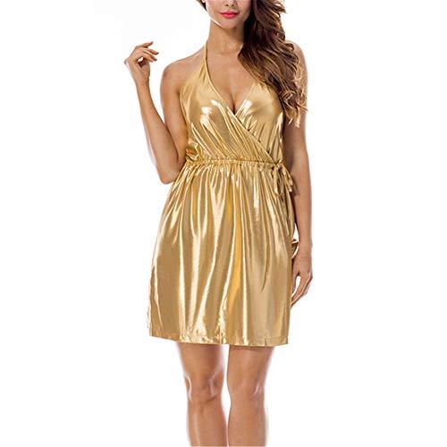 QJSZ Damen sexy Rückenfrei Kunstleder Kleid Elegante Urlaub Ballkleid sexy Slim Fit modische glänzende Kleid V-Ausschnitt Strapsrock Damen Sexy Nachtclub Lackleder Clubwear M