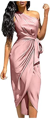 Un Hombro Vestido de Mujer de Color sólido de Alta Cintura Sexy Paty camisón sin Mangas Vestidos Largos cinturón (Pink,3XL,3XL)