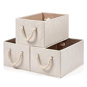 EZOWare 3 pcs Cajas de Almacenaje, Caja Decorativa de Tela Plegable Resistente con Manijas para Ropa, Juguetes, Armario, Dormitorio, Estanterías y Mas – Color Beige Natural