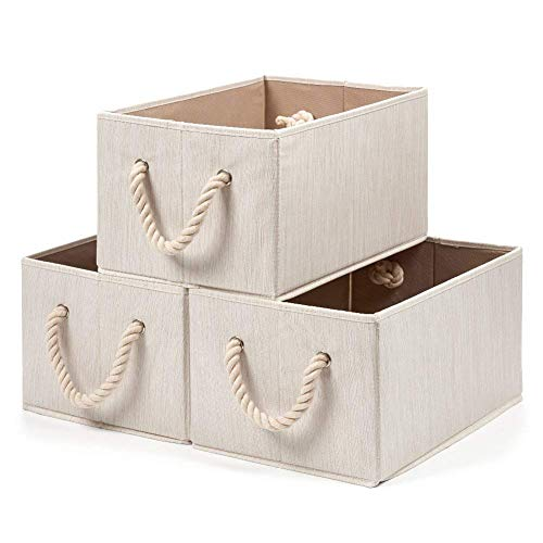 EZOWare Bamboo Large Fabric Storage Baskets Organizer with Cotton Rope Handle, Collapsible Container Box for Closet Cubby Shelves (Beige)