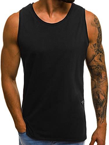 OZONEE Herren T-Shirt T Shirt Tshirt Kurzarm Kurzarmshirt Tee Top Sport Sportswear Rundhals U-Neck Rundhalsausschnitt Unifarbe Basic Einfarbig O/1205 SCHWARZ M