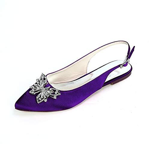 Sandalias Planos Ballerina para Mujer Puntiagudos Diamante de satén Zapatos de Boda...