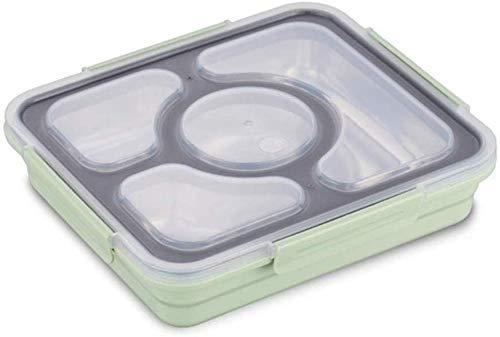 Pkfinrd Lunch BoxStudent White-Collar Compartment lekt geen voedsel of mengt milieuvriendelijke Bento-dozen met bestek Verenigde Staten Groen 4compartiment