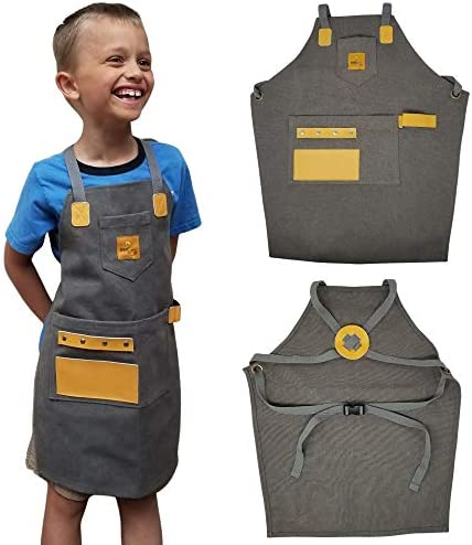 SparkJump Kids Apron Durable Canvas Leather Pockets for Tools Paint Brushes Pencils More Fully product image