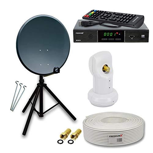 PremiumX Camping komplett SAT Anlage Set 60cm Anthrazit Antenne Single LNB Dreibein Stativ TV Kabel DVB-S2 Satelliten Receiver
