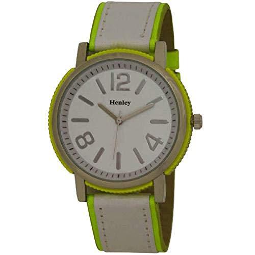 Henley - H06029.9N - Neon- gelbe runde Damenuhr mit poliertem Chromgehäuse