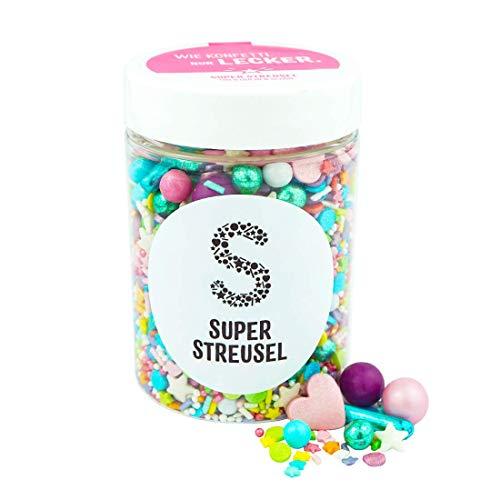 Super Streusel Parada konfetti (90 g) | cukrowy proszek do ciast ciasteczek, tortów i wielu innych | Wszystkie składniki z UE | Miks do rozsypywania z Hamburga znany z TV & Print | Bez barwników azowych (90 g)