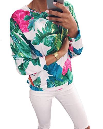 Adelina Tops Vrouwen Mode Elegante Afdrukken Ronde hals Lange Mouw Trui Modieuze Completi T Shirt Multi Kleur