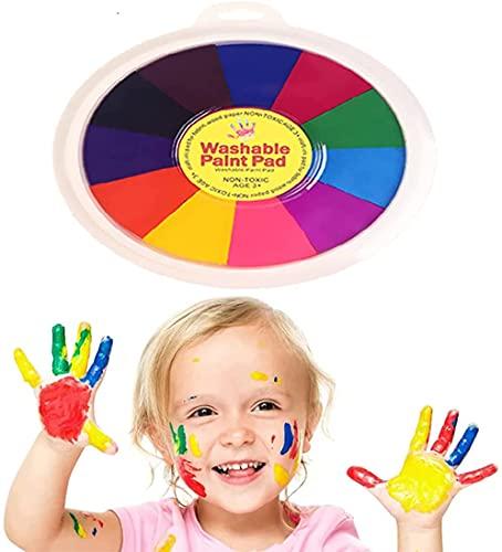 Lustige Fingermalerei Kit, Finger Zeichnen Spielzeug, pädagogische Tool Kit Schlammmalerei Kinder Early Learning Toy (12 Colors Paint Pad)
