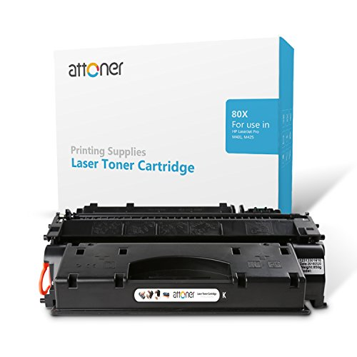 Attoner Compatible Toner Cartridge Replacement for HP 80X(CF280X) (Black), for Use In HP LaserJet Pro M401,M425,M401a,M401d,M401n,M401s,M401dn, M401dw,M401dne,MFP M425dn,MFP M425dw Printers