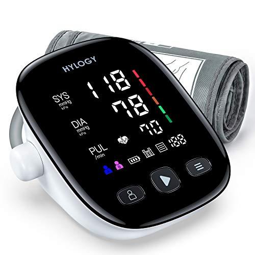 Hylogy–Arm-Blutdruckmessgerät, Arm-Blutdruck-Sphygmomanometer, Messung der Oberarm-Arterie, digital, automatisch, große LED-Anzeige, 2x90Speicher und Armband 22–42cm