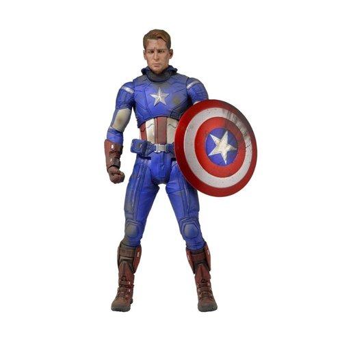 Warner Bros. Marvel 61225 - Figura de acción Capitán América (NECA 61225) - Figura Los Vengadores Capitán América daños de Combate