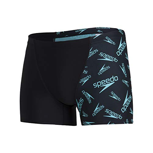 Speedo Swim Briefs - Camiseta de Manga Corta para Hombre, Hombre, 809734F888, Noir/Light Adriatic, Medium