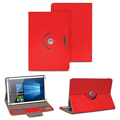 NAUC Tablet Tasche für TrekStor SurfTab Breeze 10.1 Quad Plus Hülle Schutzhülle Case, Farben:Rot