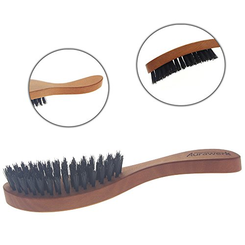 Langhaarbürste der Kopfform angepasst, Haar-Bürste Aurawerk für langes Haar, Birnbaum-Holz, Wildschwein-Borste.