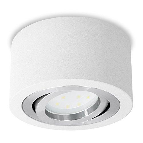 SSC-LUXon LED Aufputz Deckenleuchte flach (schwenkbar, rund, weiß) - Downlight Ø 90 mm inkl. 5W LED Modul neutralweiss 230V