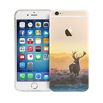Custodia per iPhone 6S iPhone 6 Cover Silicone, Protettiva Trasparente Gel TPU sottile Shell Case per 4.7' iPhone 6s/6 Slim Flessibile Morbida Anti-graffio Clear Gomma Case Cervo Natura Scenario