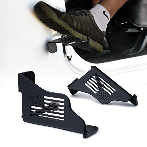 Xprite Black Steel Front Foot Pegs with U.S. Flag Style for 2007-2018 Jeep Wrangler JK 2DR JKU 4DR - 1 Pair