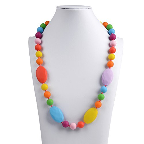 Baby Teething Necklace for Mom to Wear, V-TOP Silicone Nursing Necklace for Baby, Flat and Round Beads Baby teether Toy -BPA Free
