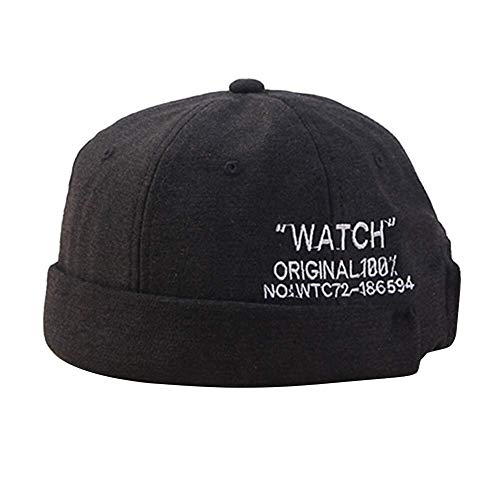 H.ZHOU Hat Männer Frauen Kappen brimless Retro Cap Schädel Mütze Worker Sailor Hip Hop Cap Rolled Cuff Fashion Hut mit justierbarem Hohe Wärmedämmung (Color : Black)