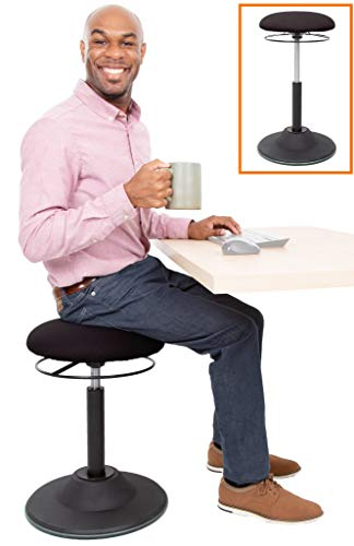 Stand Steady Active Motion Stool | Ergonomic Tilting Desk Chair with 360° Swivel Seat | Height Adjustable Rocking Stool | Perfect for Home, Office, Standing Desks! (Black)