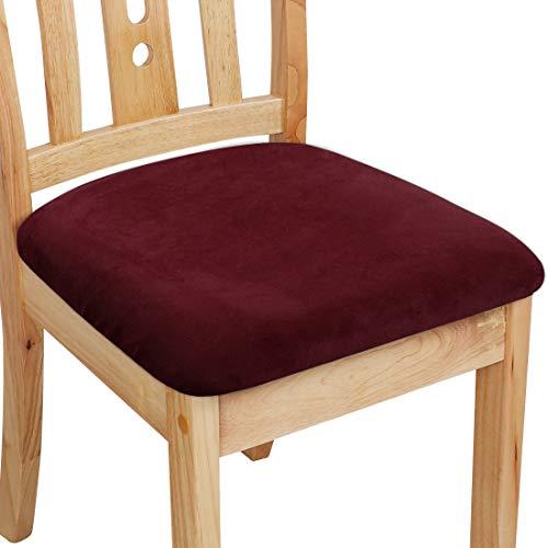 PiccoCasa - Funda de cojín con lazos, terciopelo elástico impreso para sillas de comedor, cocina, juego de 6 unidades, color burdeos