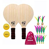 JHSHENGSHI Beach Tennis and Badminton Racket Paddle Set Wood Racket Paddles Set Outdoor Game For Adults Kidswith 2 PingPong Balls 10 Shuttlecoc(Football Games)