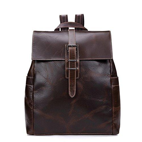 Gendi Jahrgang Echtes Kuhleder Rucksack Laptop Handtasche Reise Schulranzen, Lässige Täglich Rucksack Handtasche (Kaffee)