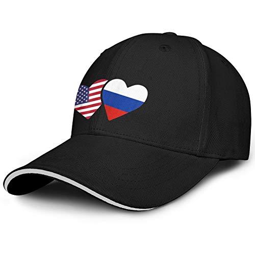 AIKYAN Russia Flag USA Heart Russian American Love Cute Novelty Baseball Cap Travel Hat Unisex