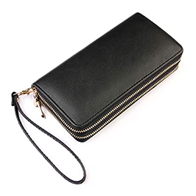 Classic Zip Around Wallet - PU Leather Double Zipper Clutch Purse with Card & Phone Slots, Removable Wristlet Strap