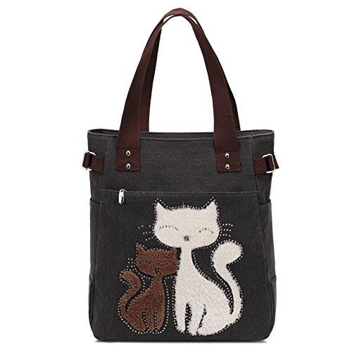 Bolso de Hombro de Las Mujeres con el Bolso de Compras Lindo del Ocio de la Lona del Gato por KAUKKO (Negro)