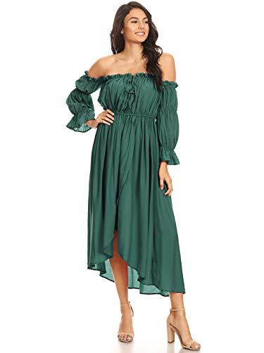 Anna-Kaci Womens Casual Boho Long Sleeve Off Shoulder Renaissance Peasant Dress, Green, Small