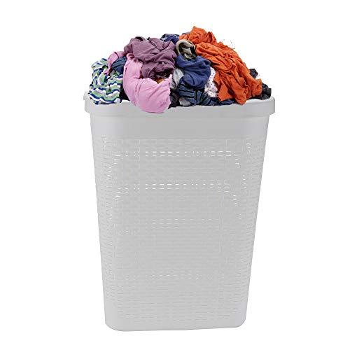 Mind Reader Basket Laundry Hamper with Cutout Handles Washing Bin Dirty Clothes Storage Bathroom Bedroom Closet 40 Liter White