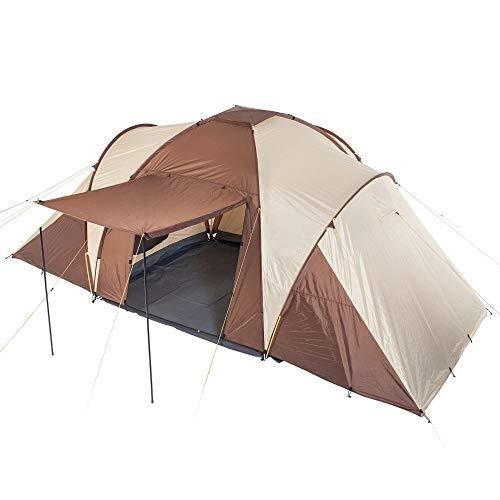 Skandika Kuppelzelt Daytona 6 Personen | Familienzelt mit 3 Schlafkabinen, 3000 mm Wassersäule, 195 cm Stehhöhe, Moskitonetze, Sonnensegel | Campingzelt für Familie und Freunde (beige/braun)