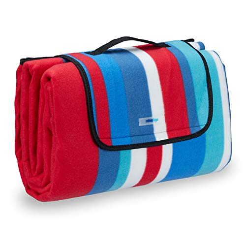 Relaxdays Picknickdecke Fleece, wasserdichte Outdoordecke, wärmeisoliert, Tragegriff, XXL 200x200 cm, rot-blau gestreift