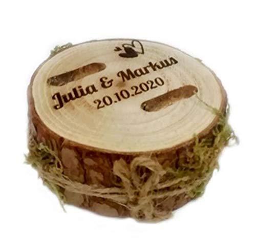 personalisierter Ringhalter Hochzeit aus Holz | Ringkissen mit Namen und Datum Gravur