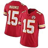 NCNC Maillots de Rugby # 15 Kansas City Chiefs Mahomes pour Homme, T-Shirt de Football américain brodé Fan Edition Sportswear (s-XXXL)-Red-M