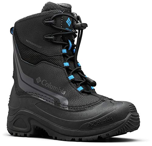 Columbia Boys' Youth Bugaboot Plus IV Omni-Heat Snow Boot, Black, Hyper Blue, 6 Regular US Big Kid