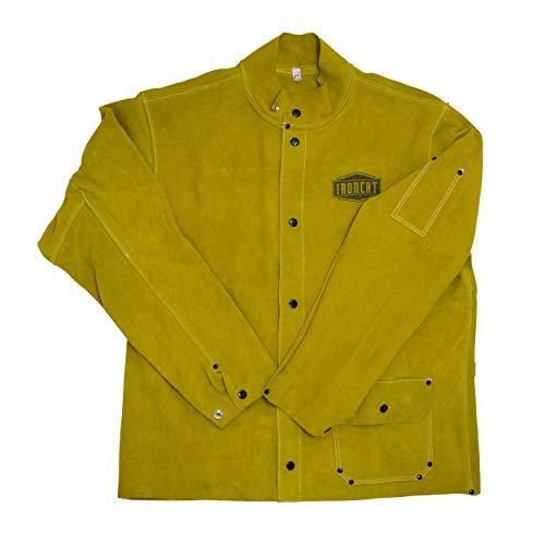 West Chester IRONCAT 7005 Heat Resistant Split Cowhide Leather Jacket – XX-Large, Kevlar Thread Stitched Welding Jacket in Golden Yellow. Welding Gears
