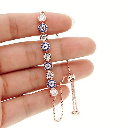 XKMY 2021 nueva mezcla de 3 colores oro rosa plata 5 mm chispeante AAA+ mal de ojo cadena de eslabones chica mujer turca joyería pavé CZ pulseras para mujer