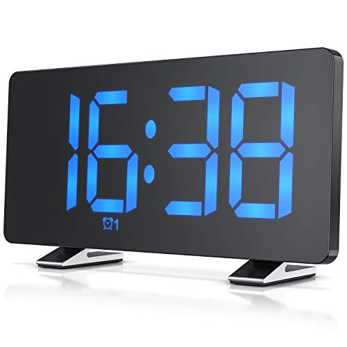 CSL - FM Radiowecker digital - Wecker – 7 Tasten – Radio mit 15 Speicherplätzen – 15 Lautstärkestufen – große blaue Ziffern mit 3 Helligkeiten – Autodimmer – Snooze 5-60 min. – USB-Netzteilkabel inkl.