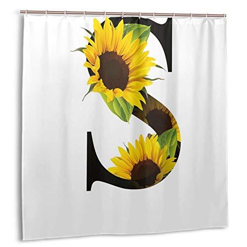 KOSALAER Duschvorhang,Buchstabe S mit Flora-Elementen Sonnenblumen auf dunklem farbigem abstraktem Kunstdruck,Vorhang Waschbar Langhaltig Bad Vorhang Wasserdichtes Design,mit Haken 180x180cm