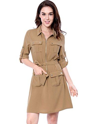 Allegra K Women's Roll Up Sleeves Multi-Pocket Knee Length Belted Shirt Dress S Beige