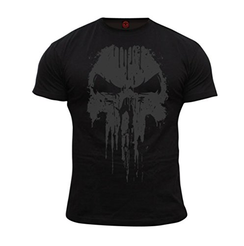 Dirty Ray Kampfsport Punisher No Mercy Herren Kurzarm T-Shirt DT38 (L)