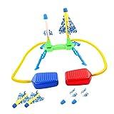 freneci Lanzacohetes Stomp Dispara hasta 100 pies Cohete al Aire Libre para Juegos al Aire Libre Jardín Niños al Aire Libre Niños - Doble