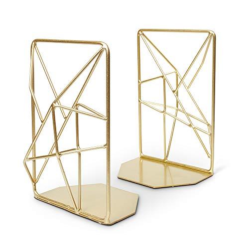 Buchstützen von Opal Tree – geometrisch modern industriell – dekorativer Eisen-Buchstopper – abstrakt, Zuhause, Büro, rustikal, kreative Regaldekoration (Gold)