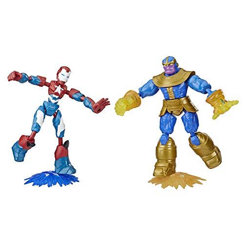 Hasbro Marvel Avengers Bend and Flex Iron Patriot vs. Thanos Doppelpack, 15 cm große, biegbare Action-Figuren, enthält 2 Effekt-Accessoires, für Kids ab 6 Jahren
